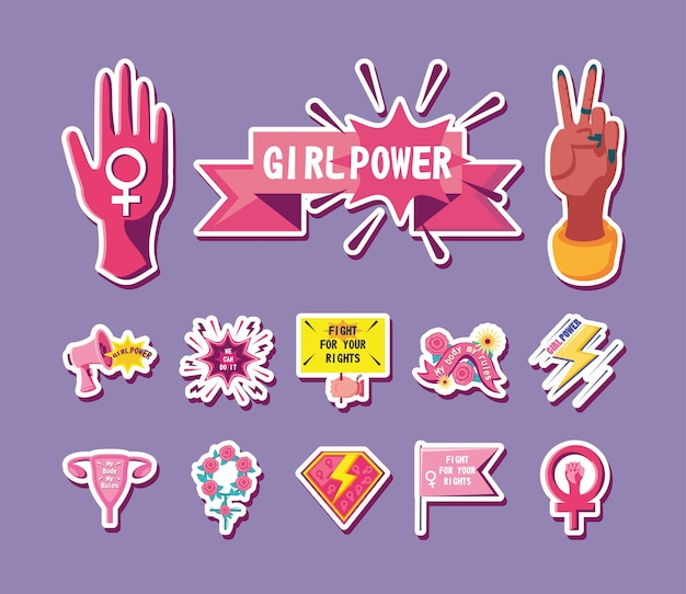 Il femminismo stile dettagliato bundle di icone di design movimento internazionale