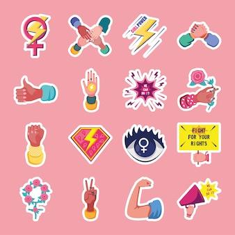 Femminismo stile dettagliato raccolta di icone di design movimento internazionale