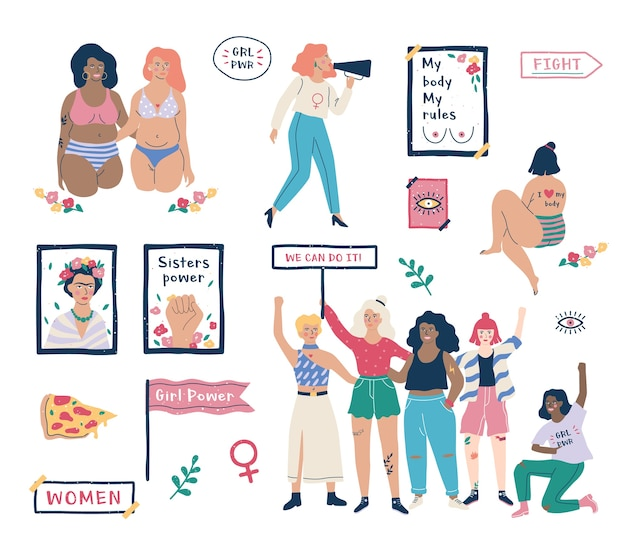 Set femminismo. idea di pari diritti e corpo positivo