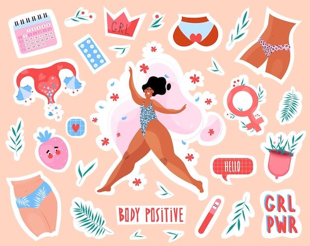 Collezione di adesivi e distintivi da donna femminista e body positive