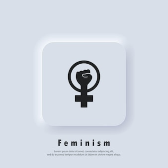Logo femminista. icona di potere della ragazza. la mano della donna con il pugno simbolo del contorno dell'icona del movimento femminista. vettore. icona dell'interfaccia utente. pulsante web dell'interfaccia utente di neumorphic ui ux bianco. neumorfismo