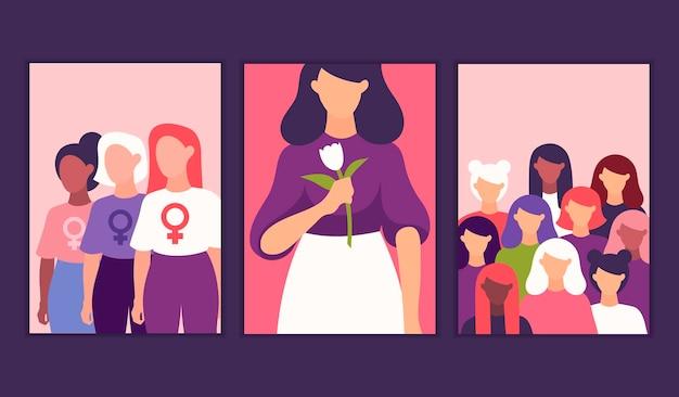 Manifesti femministi giornata internazionale della donna 8 marzo.
