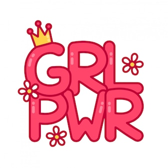 Potere femminile di slogan femminista. icona illustrazione piatto dei cartoni animati.