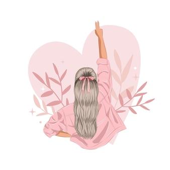 Donna femminista che mostra il gesto della mano di pace girl power clipart vector illustration