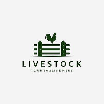 Recinto gallo vintage logo design illustrazione vettoriale, icona del gallo, fattoria fresca, azienda di bestiame, recinzione logo