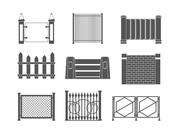 Sagome di recinzione. recinzione vecchio muro di fattoria in pannelli di confine del villaggio per set di vettori di costruzione. illustrazione fattoria, costruzione, picchetto e recinzione orizzontale