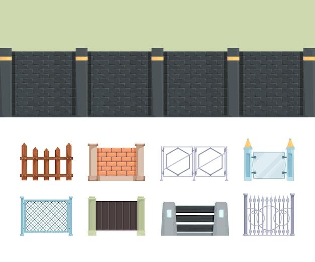 Recinzione. recinzioni in legno e mattoni per elementi esterni di vettore di fattoria del villaggio per edilizia residenziale. villaggio di recinzione, parete di legno per illustrazione del giardino dell'iarda