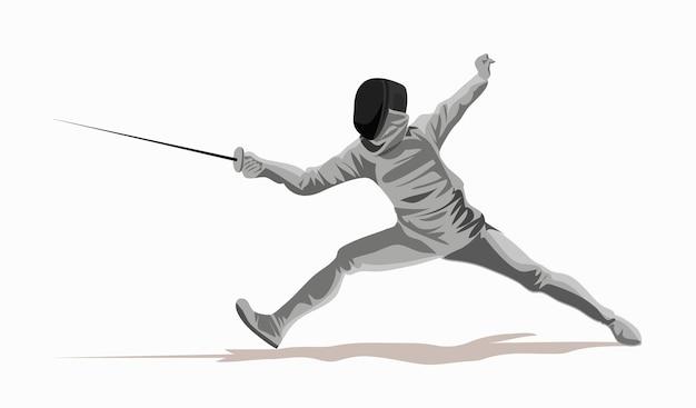 Schermitore. uomo che indossa tuta da scherma pratica con la spada. arena sportiva e lens flare. sport infografica lancio del peso eventi di atletica. sfondo bianco. disegnato in uno stile piatto.