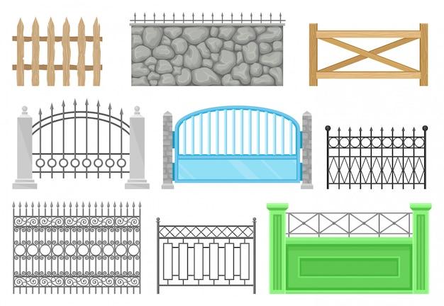 Recinzioni di diverse strutture e materiali impostati, barriera protettiva per fattoria, casa, giardino, parco illustrazioni su uno sfondo bianco