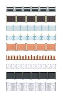 Recinzioni senza soluzione di continuità. muro di recinzione in metallo e legno tradizionale in mattoni di legno per elementi di fattoria all'aperto di vettore del villaggio. muro di mattoni di legno, illustrazione di struttura senza giunte di recinzione