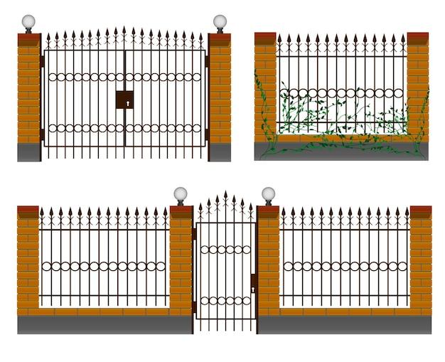 Recinzione d'ingresso con recinzione in ferro cancelli in ferro battuto