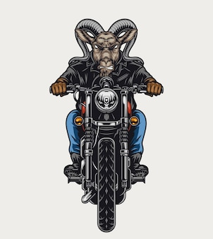 Concetto variopinto del motociclista feroce della testa della capra con il motociclo di guida animale crudele nell'illustrazione isolata stile vintage