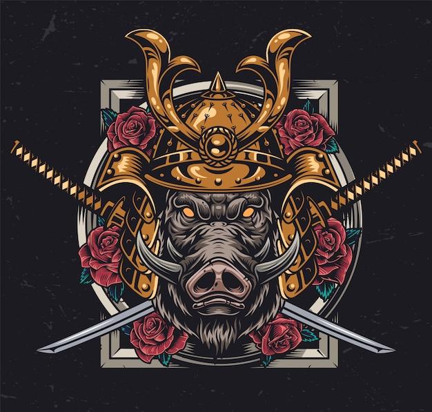 Testa di cinghiale feroce nel casco samurai