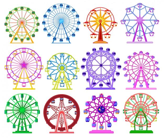 Icona stabilita del fumetto isolata ruota panoramica. fumetto imposta icona giostra di divertimento.