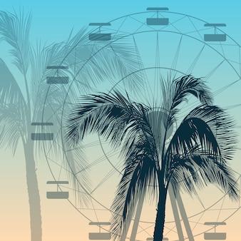 Fondo della siluetta della ruota panoramica e della palma