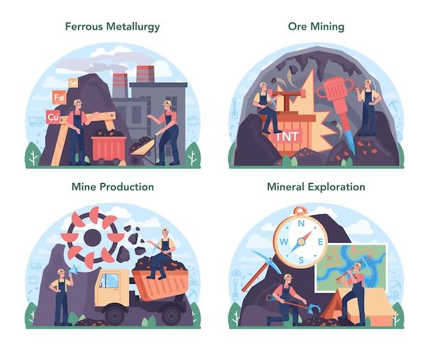 Insieme di concetti di metallurgia ferrosa. industria di estrazione e produzione di acciaio o metallo. estrazione industriale, industria metallurgica. illustrazione piatta vettoriale