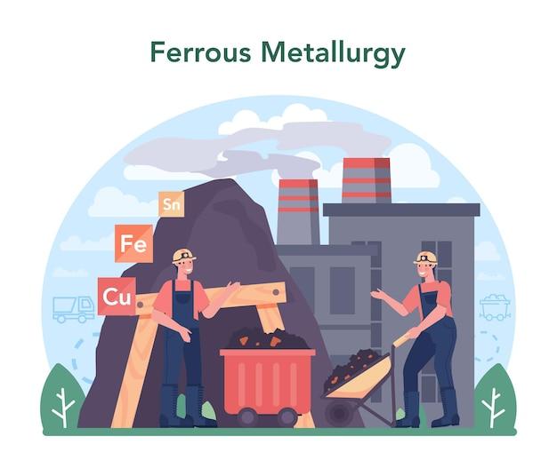 Concetto di metallurgia ferrosa estrazione e produzione di acciaio o metallo