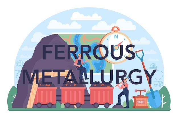 Intestazione tipografica di metallurgia ferrosa. industria di estrazione e produzione di acciaio o metallo. estrazione industriale, industria metallurgica. illustrazione piatta vettoriale
