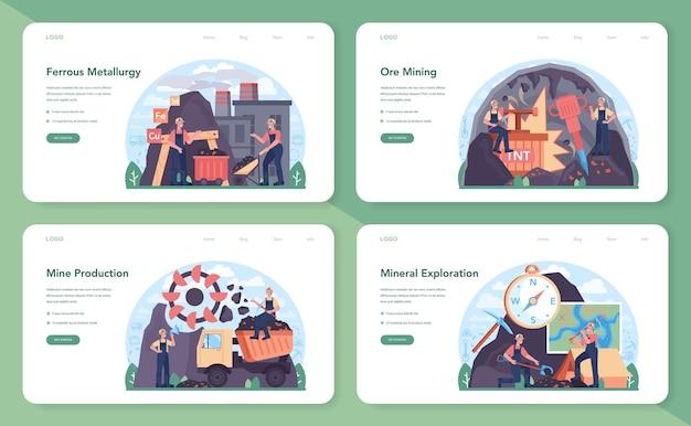 Banner web di metallurgia ferrosa o set di pagine di destinazione estrazione di acciaio o metallo