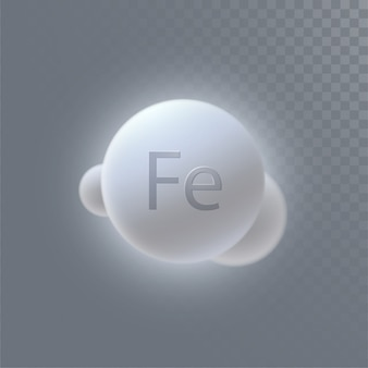 Icona di minerale ferrum isolato su sfondo trasparente. illustrazione 3d. integratore alimentare. microelemento di ferro. concetto medico o farmacia.