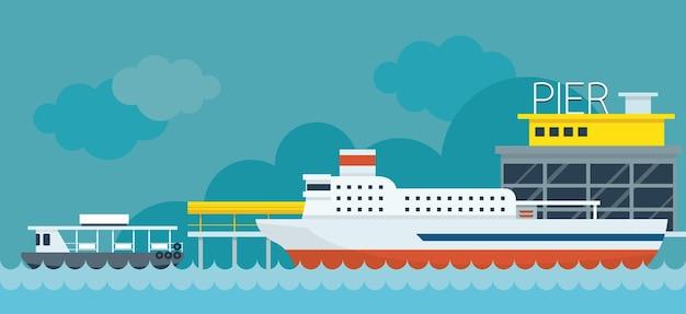 Fondo dell'illustrazione di design piatto del molo del traghetto