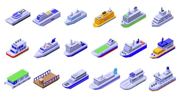 Set di traghetti. insieme isometrico del traghetto per il web design isolato su sfondo bianco
