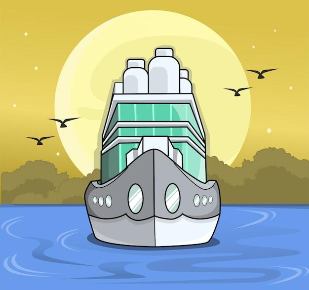 Nave del traghetto al crepuscolo nel piano dell'oceano