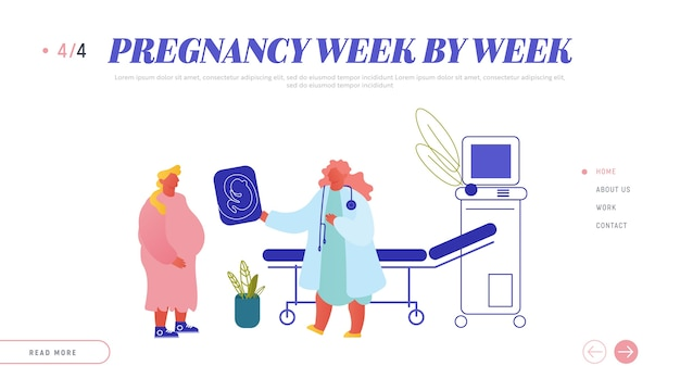 Pagina di destinazione del sito web di salute femminile di fertilità gravidanza parto.