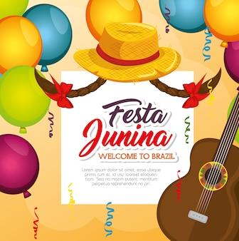 Festa junina carta con chitarra ballons cappello e trecce su sfondo arancione illustrazione vettoriale