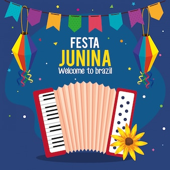 Biglietto di auguri festa junina con fisarmonica e icone tradizionali