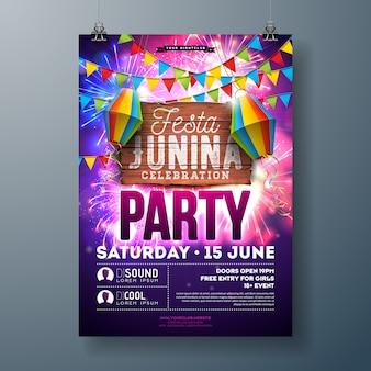 Festa junina party flyer con volantino lanterna di carta e fuochi d'artificio