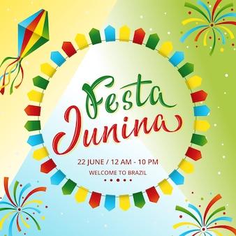 Design del poster festa junina per il festival del raccolto tradizionale del brasile