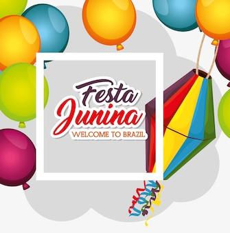 Festa junina benvenuto in brasile carta con palloncini e lanterna illustrazione vettoriale