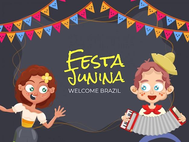 Festa junina, benvenuto in brasile. illustrazione del partito con coppia carina