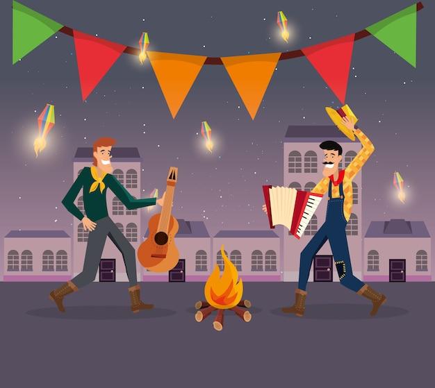 Festa junina con uomini di cartoni animati che ballano la danza tradizionale intorno a un falò