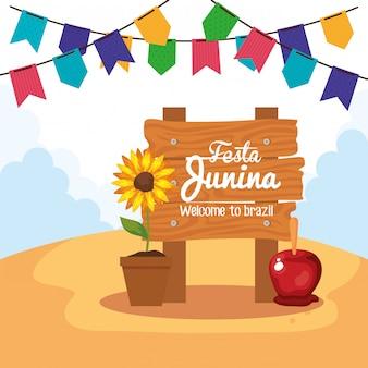 Festa junina con cartello in legno e decorazioni, illustrazione di festival di giugno brasile