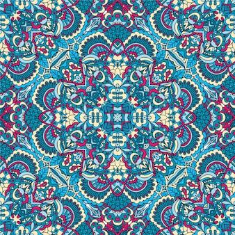 Reticolo senza giunte di arte del festival. stampa floreale geometrica etnica. colorato