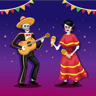 Festival della morte con coppia che suona chitarra e maracas di strumenti musicali. vettore del festival del messico