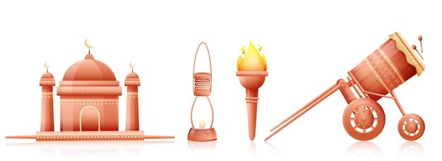 Elementi festival come moschea, lampada a olio, torcia fiammeggiante, tabuh bedug (tamburo) su sfondo bianco.