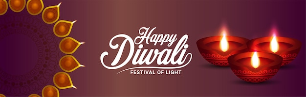 Il festival della luce felice striscione per la celebrazione del diwali con diwali diya Vettore Premium