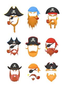 Illustrazione delle maschere dei pirati del festival