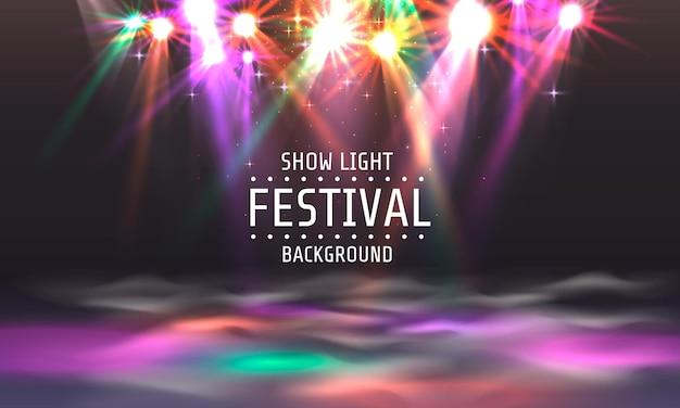 Luce dello spettacolo del festival, striscione per la pista da ballo, insegna del testo della discoteca. illustrazione vettoriale