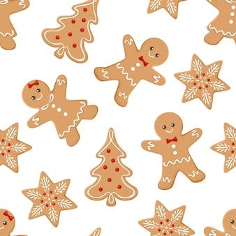 Sfondo festivo con fiocchi di neve di uomini di pan di zenzero e alberi di natale