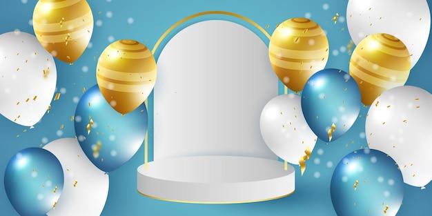 Sfondo festivo con palloncini ad elio festeggia un compleanno poster banner buon anniversario realista...