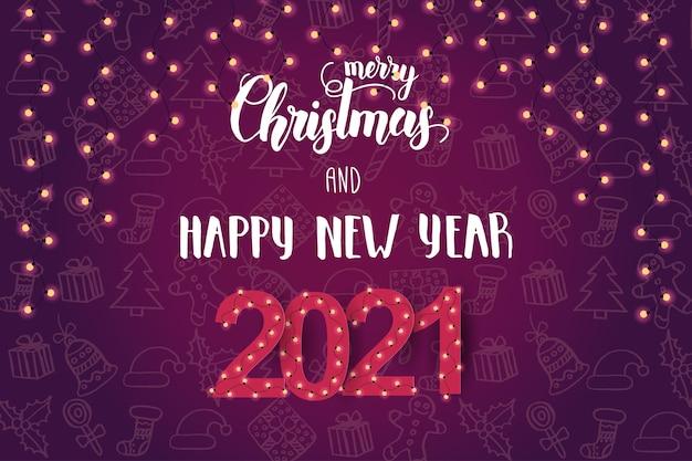 Sfondo festivo con lampadine e frase scritta a mano felice anno nuovo
