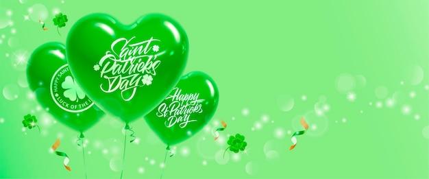 Banner festivo con baloons e trifoglio per la celebrazione del giorno di san patrizio.