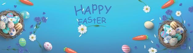 Banner festivo con cesto e uova di pasqua e fiori. felice giorno di pasqua banner.