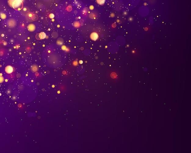 Sfondo luminoso blu e dorato festivo con bokeh di luci colorate. concetto di natale. vacanza magica. scintille di giallo oro brillante notte luce astratta