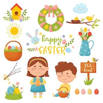 Set festivo per bambini con tradizionali decorazioni pasquali