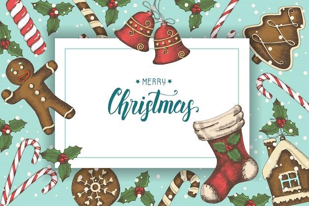 Sfondo di natale festivo con foglie di agrifoglio disegnate a mano, campane, pan di zenzero e calza di natale. citazione fatta a mano di saluto